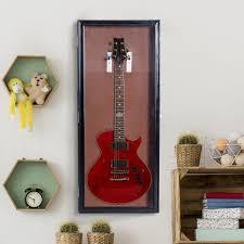 homcom wall mounted lockable guitar security shadow box display case black