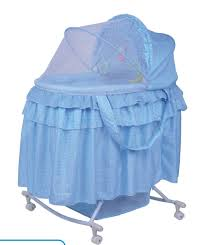 Furniture: Modern Blue Rocking Bassinet With Hood - Rocking Bassinet ...