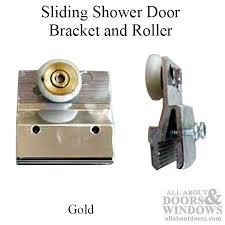 1 1 2 inch sliding shower door bracket 3 4 inch oval wheel gold finish pairs