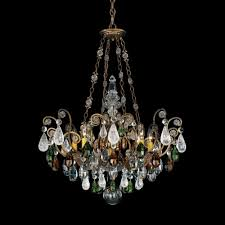 renaissance rock crystal 8 light 110v chandelier in antique silver with amethyst and black diamond r