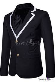 Fashion Contrast <b>Notched</b> Lapel Collar Long Sleeve <b>Double Buttons</b> ...