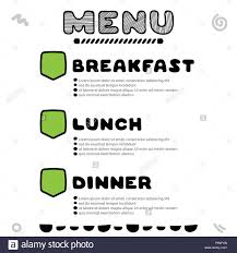 dinner template hand drawn menu for cafe with breakfast lunch dinner