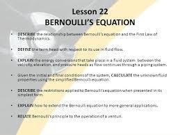 simplified bernoulli equation. lesson 22 bernoulli\u0027s equation simplified bernoulli equation