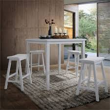 acme gaucho 5 piece counter height dining set in white