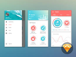 Material Design Fitness Dashboard UI Kit by impekable - Dribbble