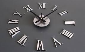 new diy 3d metallic silver roman numerals wall clock home decoration creative combination of wall clocks