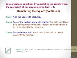 8 completing the square continued solve quadratic equations