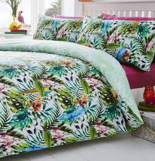 tropical jungle birds reversible print quilt duvet cover bedding set single
