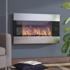 wade logan clairevale wall mounted electric fireplace reviews hung duraflame logs infrared stove stainless steel long