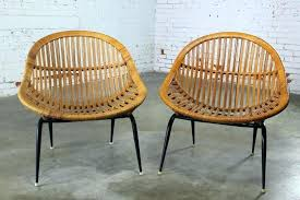 M Pottery Barn Wicker Chair Sold Pair Of Mid Century Modern Rattan  Basket Chairs By Dining Room