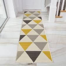 yellow mustard grey geometric rug ochre nordic long narrow hallway runner rugs