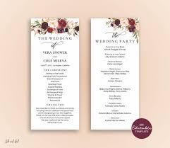 Ceremony Template Editable Wedding Program Template Order Of Ceremony Template Printable Wedding Programs Instant Download Marsala Burgundy Blush Vera