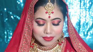 द ल हन म कअप क स कर step by step muslim bridal makeup by self red gold smokey eyes bright red lips video get video you