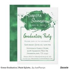 Design Grad Party Invites Green Graduation Paint Splatter Chic Grad Party Invitation