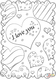 Small Picture Valentines Day Card I Love You coloring page Free Printable