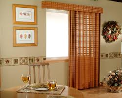 Marvelous Red Fabric Over Valance And Curtains Patio Door Window Treatments  With Rounded Wooden Dining Table Sets As Well As Portray Frame As Wall  Dining ...