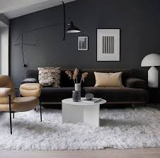 dark gray wall living room brown couch