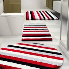 black and white bathroom rugs design looks amazing red and white rugby stripe bedding