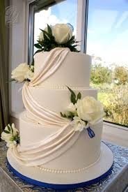 Classic Wedding Cake Shimmering White Swags Cakecentralcom
