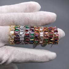 Thin Baguette T Ring Engagement Handmade Rainbow <b>Trapezoid</b> ...