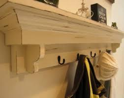 Vintage Coat Rack With Shelf Coat Hook Shelf in Antique White Entryway Shelf with Hooks Haven 30