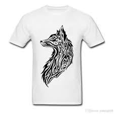 tribal fox drawing. Perfect Fox American Tribal Fox T Shirts Adult 3d Drawing High Quality 100  Organic Cotton Clothes Tee Student Cool Tshirt Now Deal With It  In