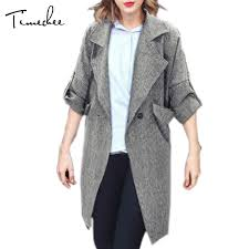 coat women 2017 timechee turn down collar wide waisted spring trench elegant office grey linen female