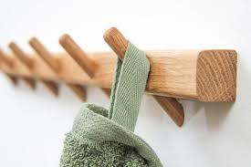 oak bathroom towel rack wooden pegs
