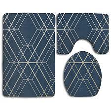 fionalin bath mat 3 piece bathroom rug set midnight blue dark navy non slip toilet seat cover set large contour mat lid cover for men women