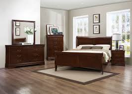 Queen Furniture Bedroom Set Traditional 4pcs Louis Philippe Brown Cherry Queen Sleigh Bedroom Set