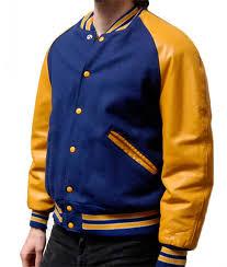 mens letterman jacket blue wool varsity yellow leather sleeves