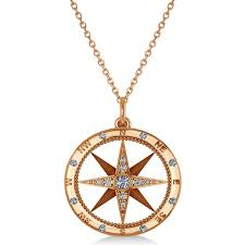 compass necklace pendant diamond accented 14krose gold 0 19ct
