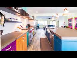 colorful cabinets and concrete countertops