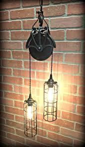 pulley lighting. Cool Wood Barn Pulley Light With Long Cage Shades \u0026 Edison Tube Bulbs Lighting