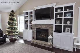 stoned fireplace with built ins charleston stack ease j n stone