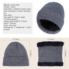 Vbiger 2pcs Men Women Hat Infinity Scarf Set Warm Winter Knitted Cap Thick Beanies Skullies Hat With Warm Circle Scarf In Skullies Beanies From