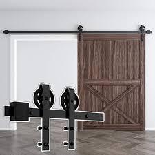 Amazon.com: skysen 8FT Single Door Sliding Barn Door Hardware Track Kit Black (Big Wheel): Home Improvement