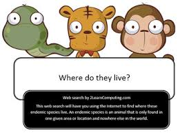 Search For Teens Endemic Species Animals Online Web Search For Teens By Spelling And