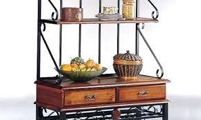 bakers rack wheels bakers rack with drawers coaster brown sandy black finish metal wood bakers kitchen bakers rack