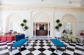 white tile floor living room
