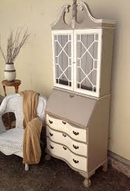 white secretary desk with hutch with 3 drawers