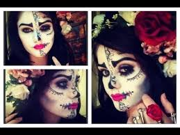 sugar skull half face makeup hair and outfit easy