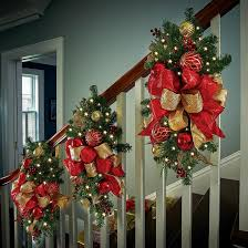 Staircase Decorating Ideas for Christmas-Christmas Garland Swag