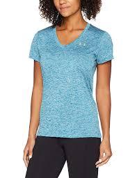Under Armour Womens Ua Tech Twist V Neck Bayou Blue Shirt