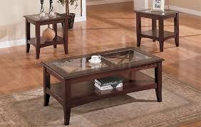 dark cherry stylish 3pc coffee table set w glass tops