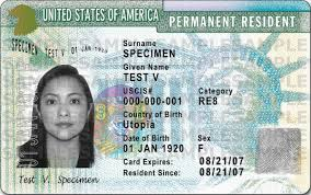 permanent resident card with signature front