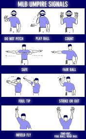 Image Result For Baseball Umpire Signals Chart Baseball