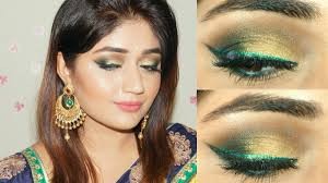 gold green smoky eye indian festive makeup tutorial clista you