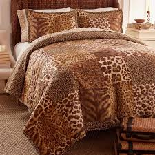 brown animal print bedding clever carriage home 100 cotton safari club 3 piece quilt set