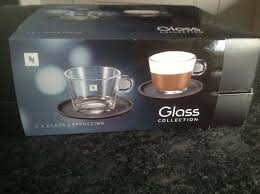 new nespresso coffee glass collection 2 cappuccino cups and saucers